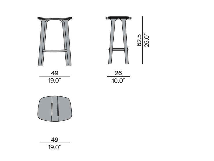 Manutti Solid Counter Outdoor Bar Stool