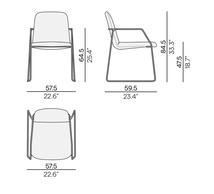 Manutti Loop Dining Chair Size