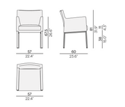 Manutti Liner Dining Chair Size