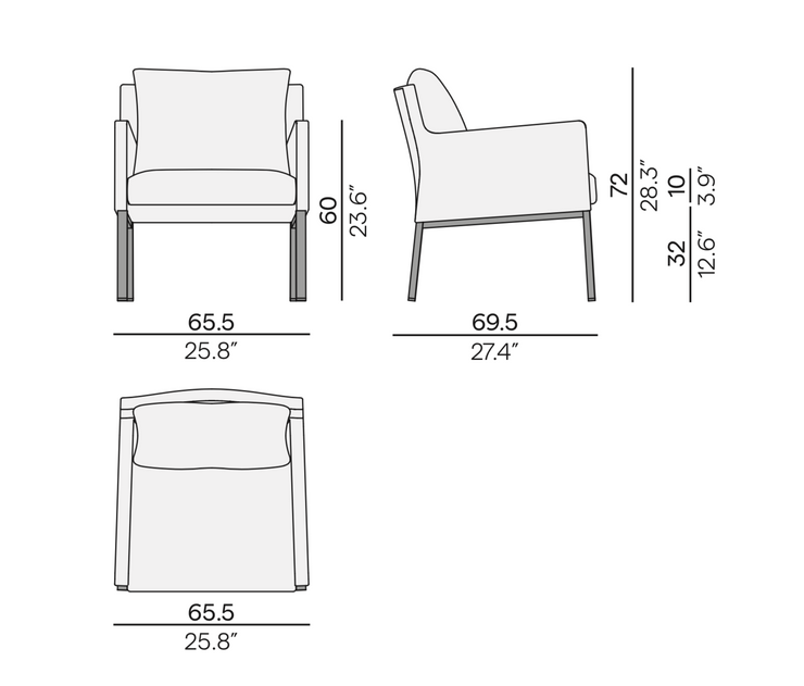 Manutti Liner Lounge Chair Size