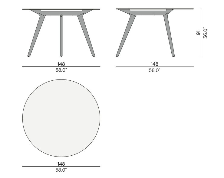 Manutti Torsa Round High Dining Table 148
