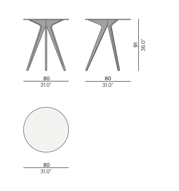 Manutti Torsa High Round Garden Dining Table 80