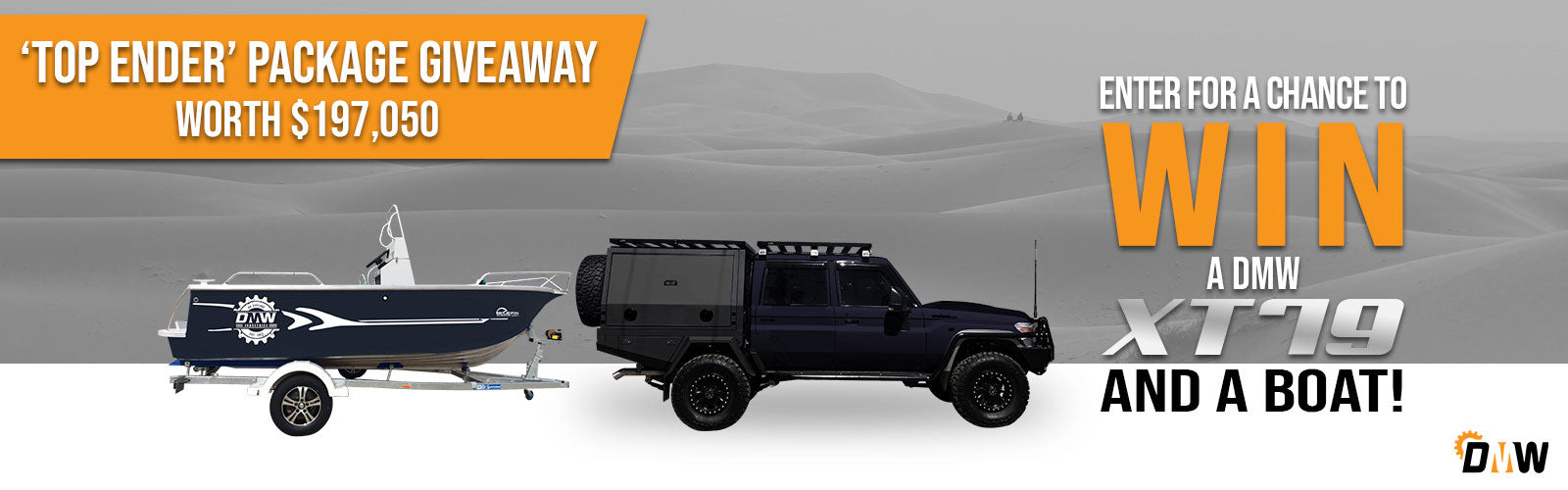 Enter for a chance to win a DMW XT79 and a boat! Top Ender Package Giveaway worth $197,050