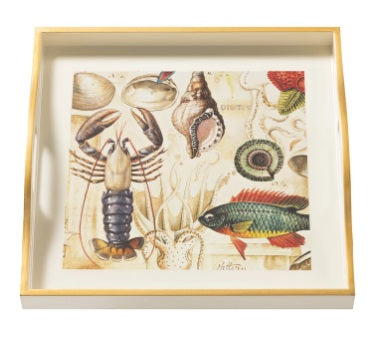 Ocean Life Small Square Cream Tray