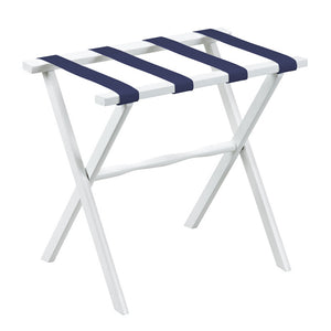White Straight Leg Wood Luggage Rack w/ Navy Nylon Straps
