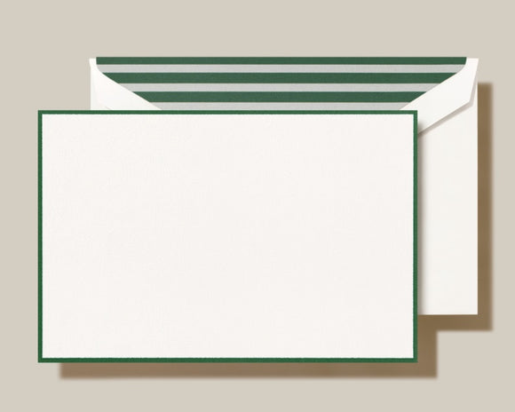 Hunter Green Border Cards w/ GRN&PEWT Stripe on Envelope