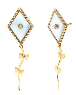 Petite Kite Earrings, Gold with Mother of Pearl