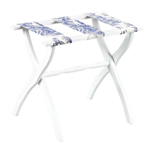 White Contour Luggage Rack w/ Blue Toile Straps
