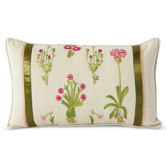 Linen Pillow With Embroidered Pink Flowers and Green Ribbon