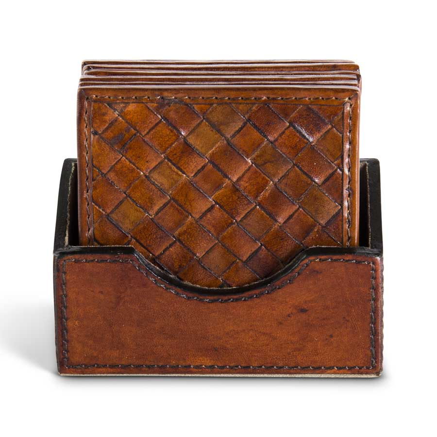 Tan Leather Basket Weave Coaster S/6