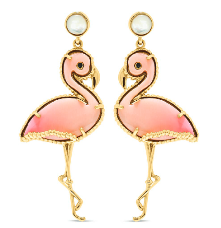 Flirty Flamingo Earrings, Pink Conch Shell