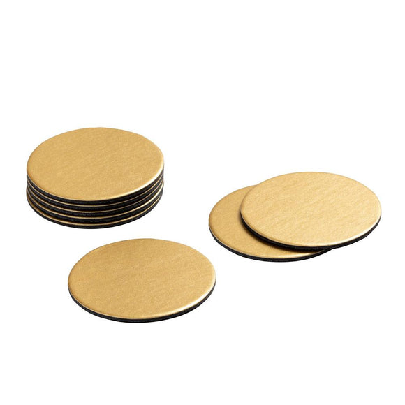 Round Luster Felt-Backed Coasters in Gold