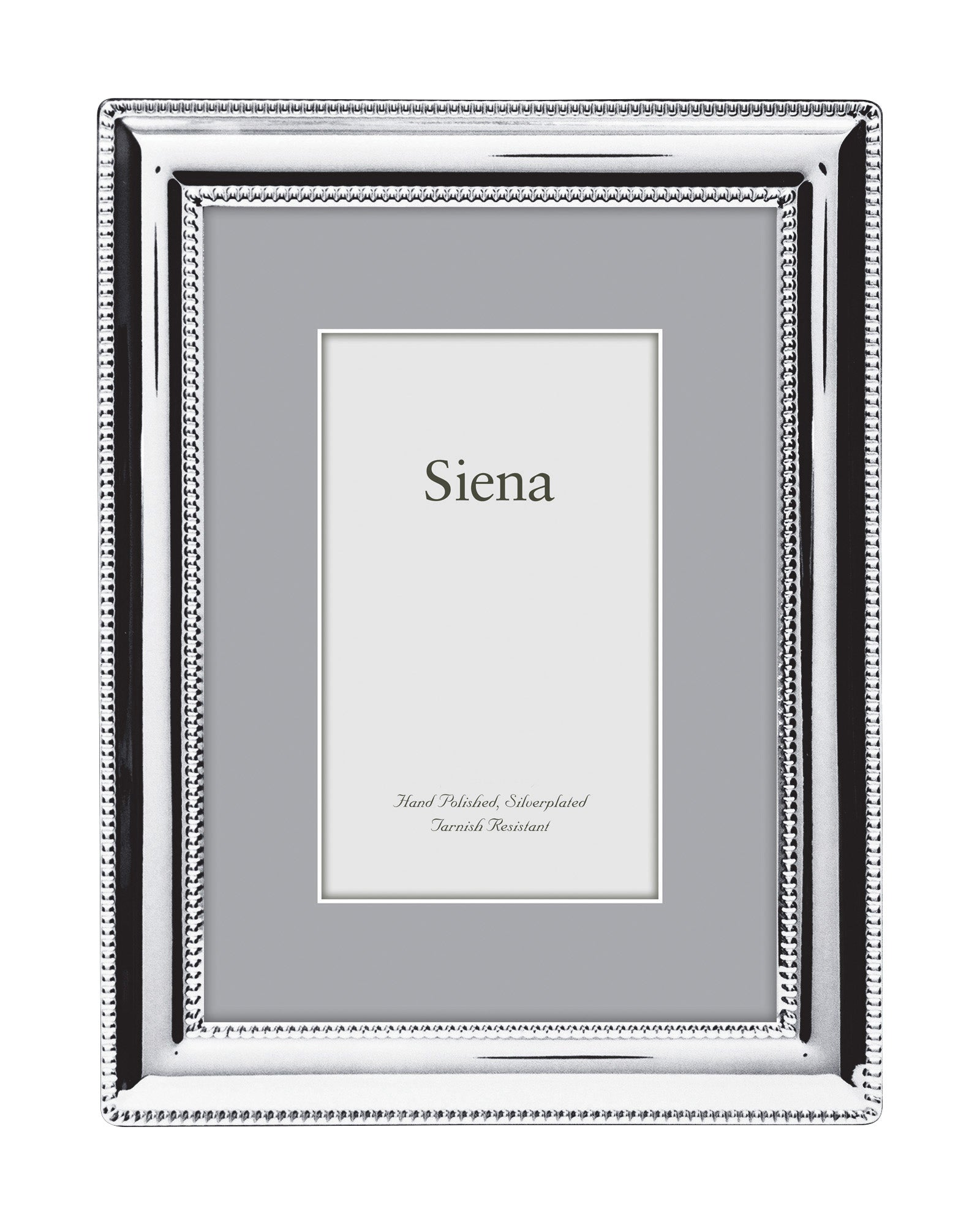 Dbl Border Beaded Siena Silverplate Frame
