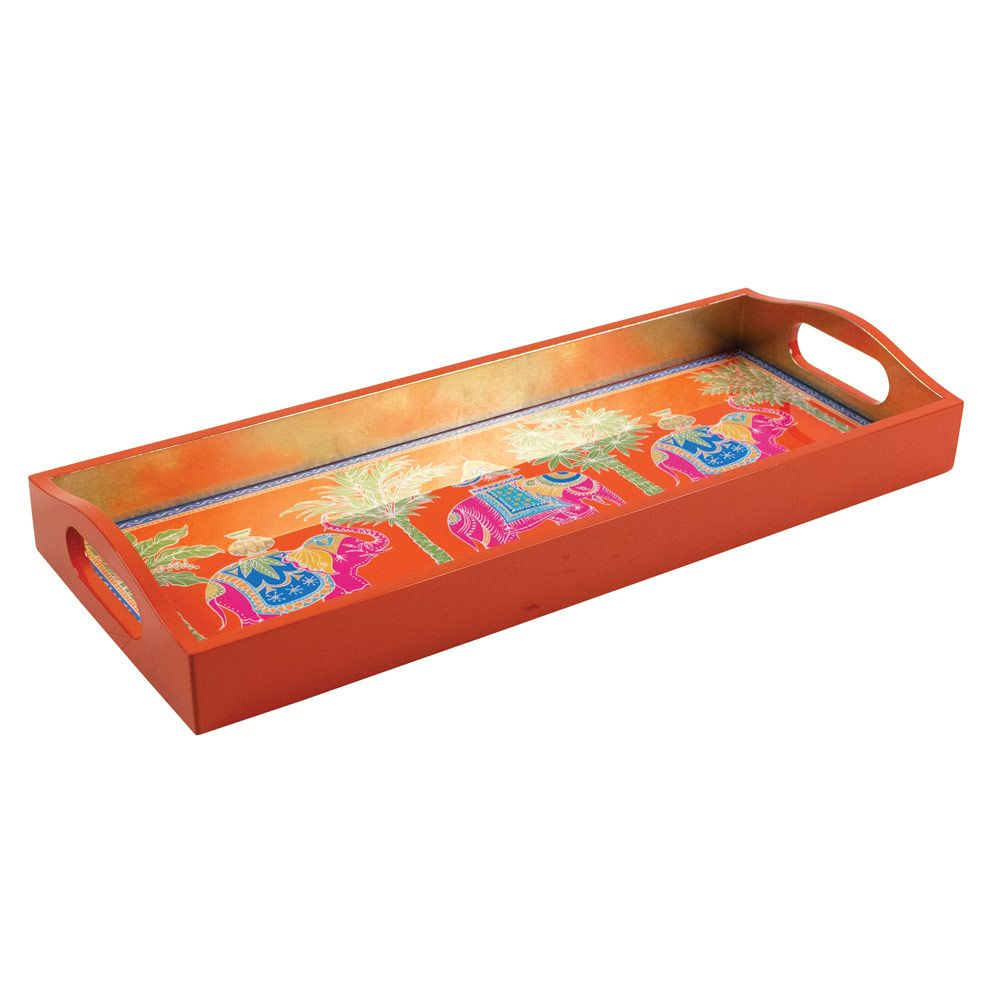Royal Elephant Lacquered Bar Tray, Orange
