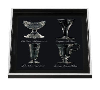 Antique Glasses Small Tray, Black