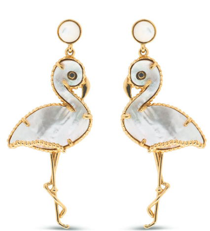 Flirty Flamingo Earrings, Mother of Pearl