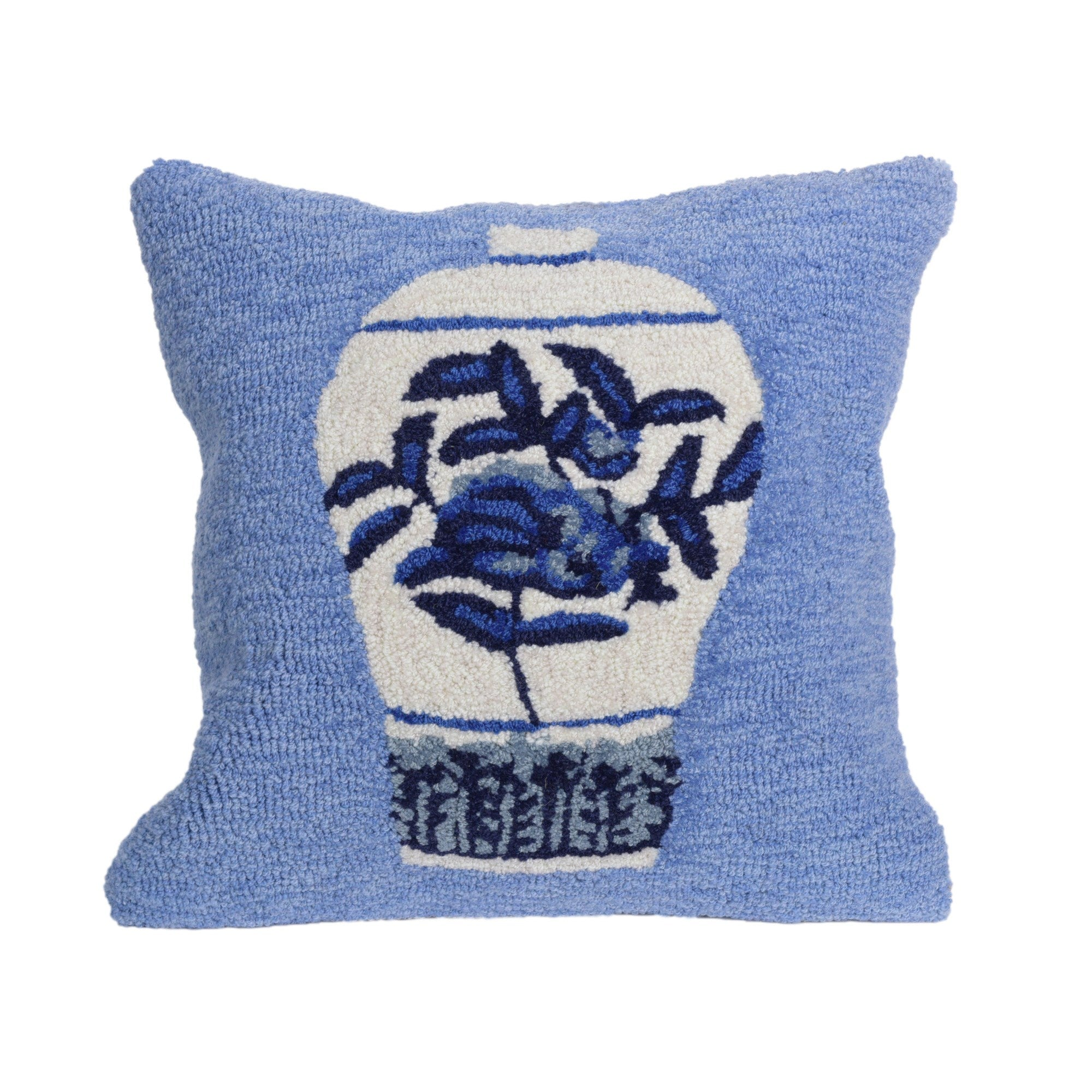 "Ginger Jars Blue 18"" Square Pillow"