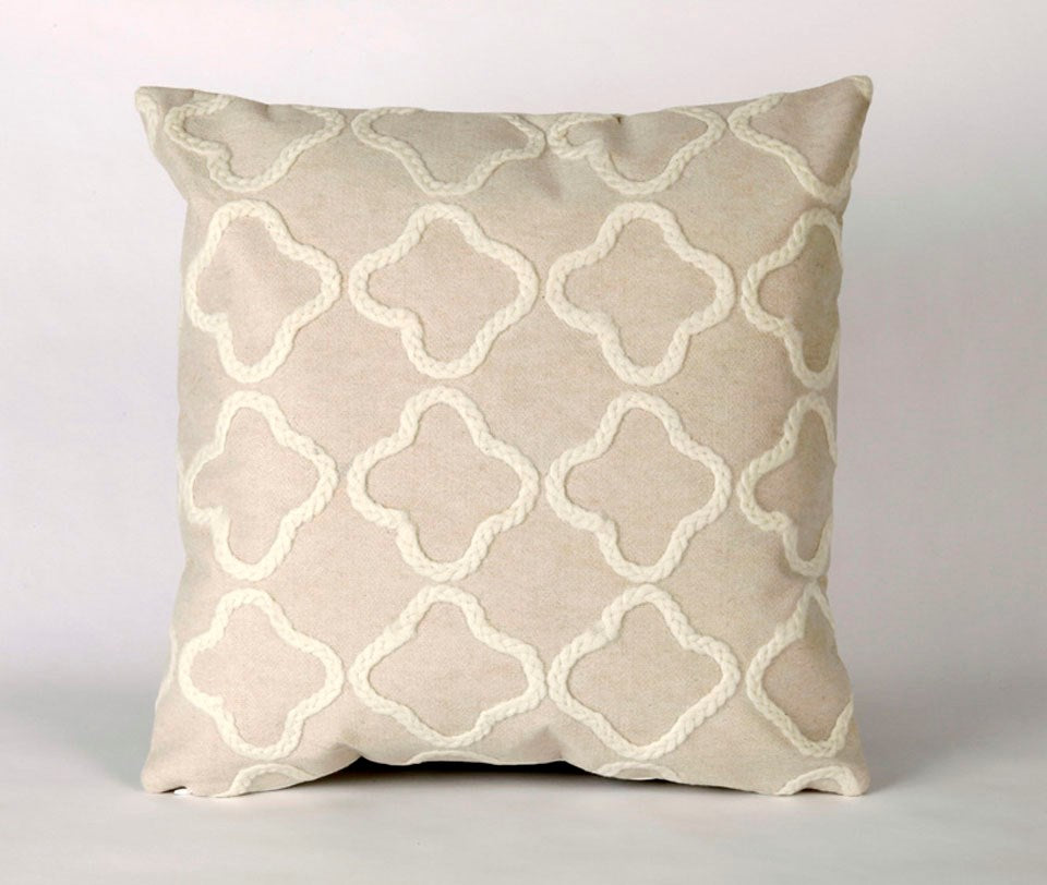 Crochet Tile Pillow, White