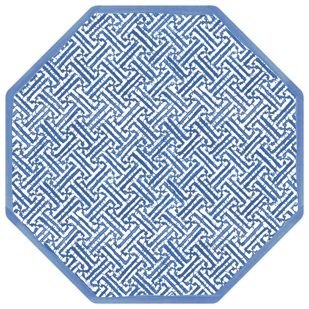 Fretwork Blue Die Cut Placemat