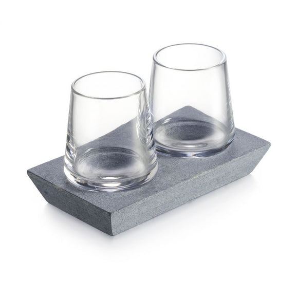 Alpine Whiskey Glass S/2 w/ Soapstone Base