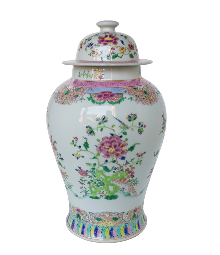 Chinoiserie Floral Temple Jar Multi-Colored