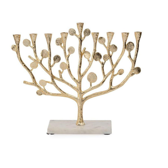 Botanical Leaf Gold Menorah