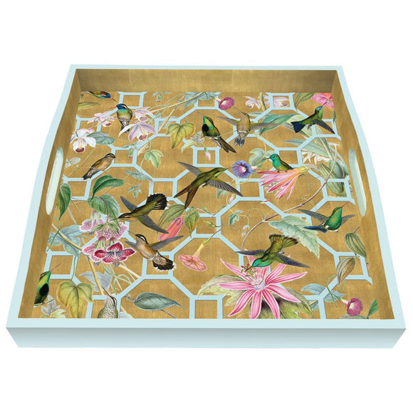 Hummingbird Trellis Lacquered Square Tray