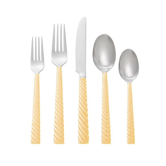 Twist Gold 5-Piece Flatware Set