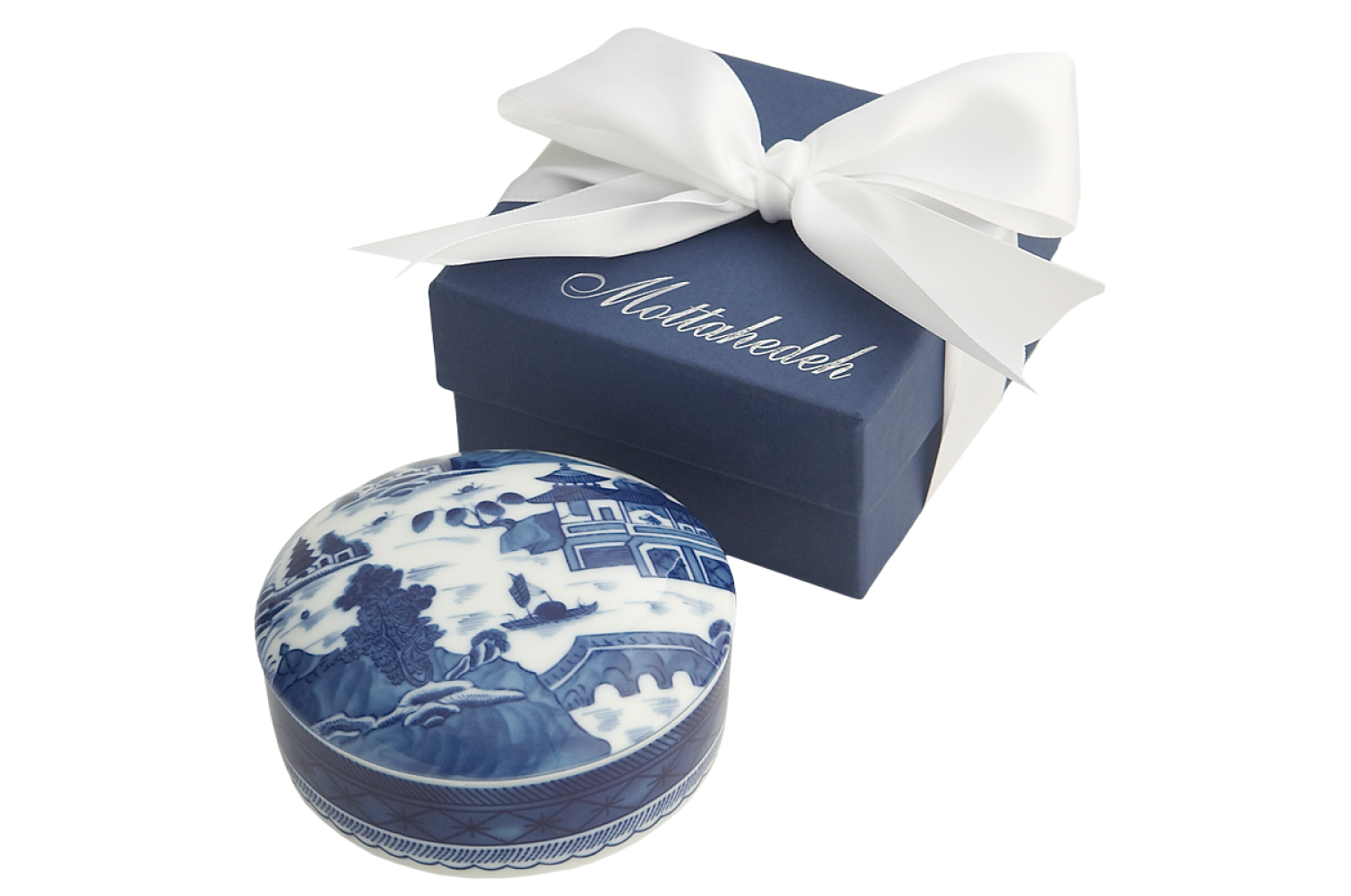 Blue Canton Round Covered Box