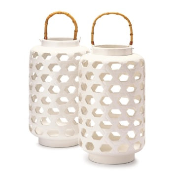 White Lantern w/ Bamboo Handle