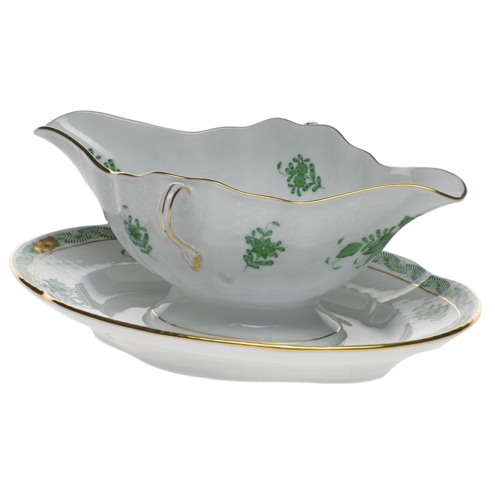 Chinese Bouquet Green Gravy Boat w/fixed Stand