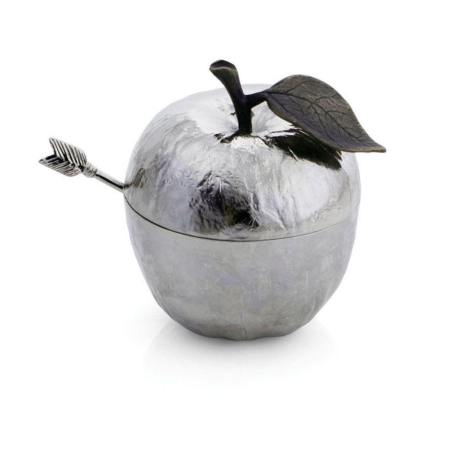 Apple Honey Pot w/ Spoon, Nickel