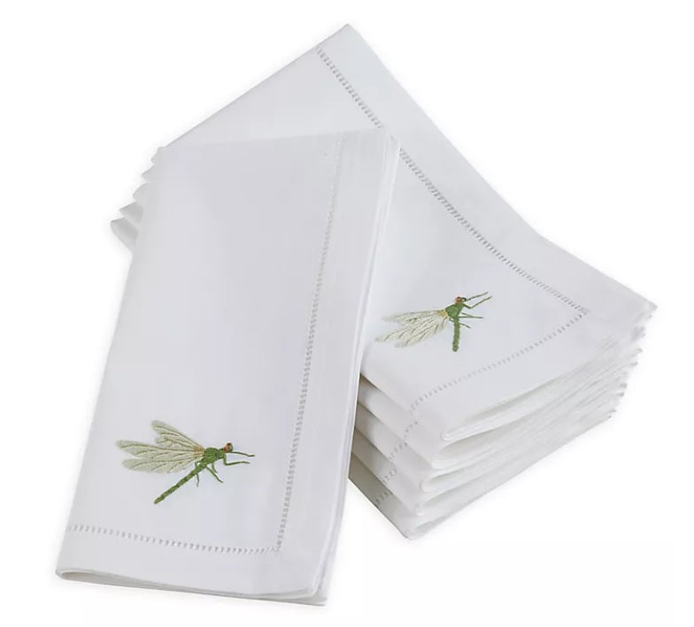 Embroidered Dragonfly Hemstitch Napkin