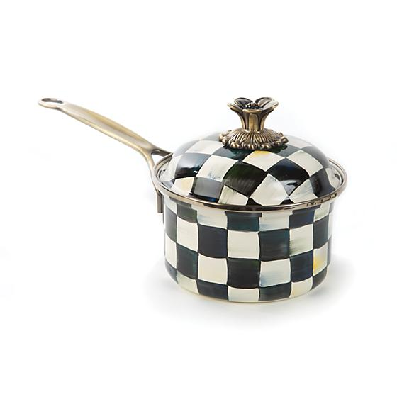 Courtly Check Enamel 1 Qt Saucepan