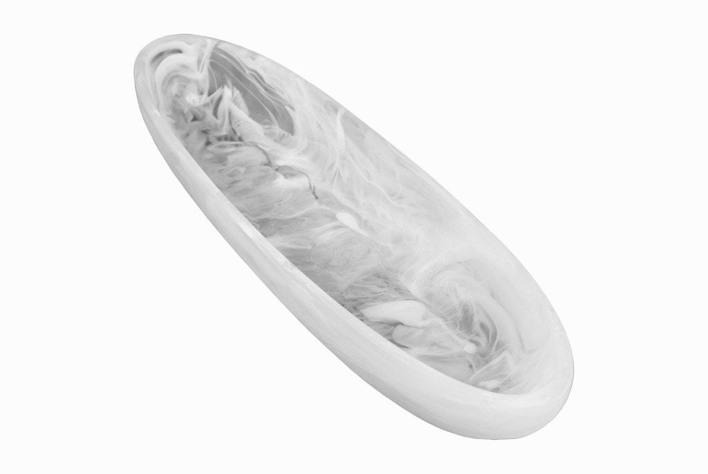 Boat Bowl, Medium, White Swirl