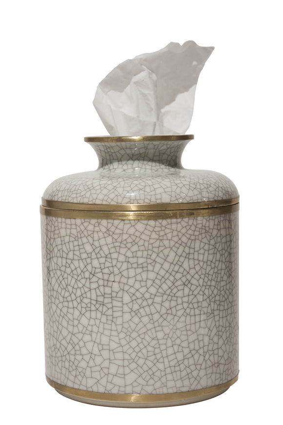 White Crackle Round Tissue Box