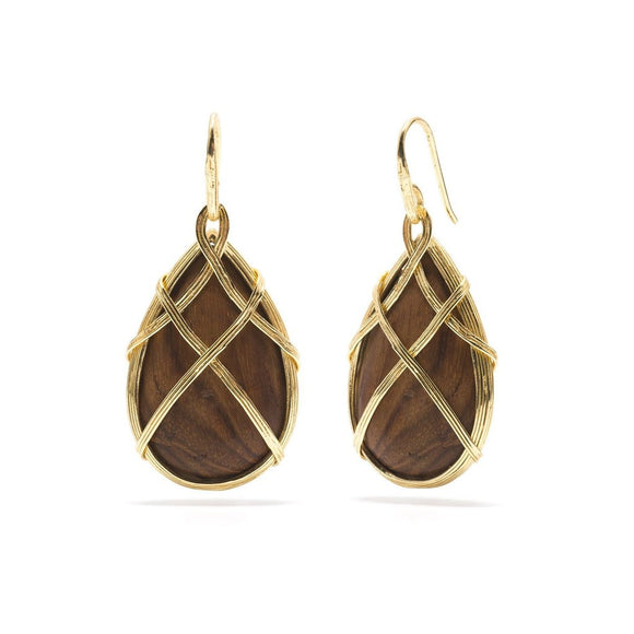 Teak Earth Goddess Drop Earring
