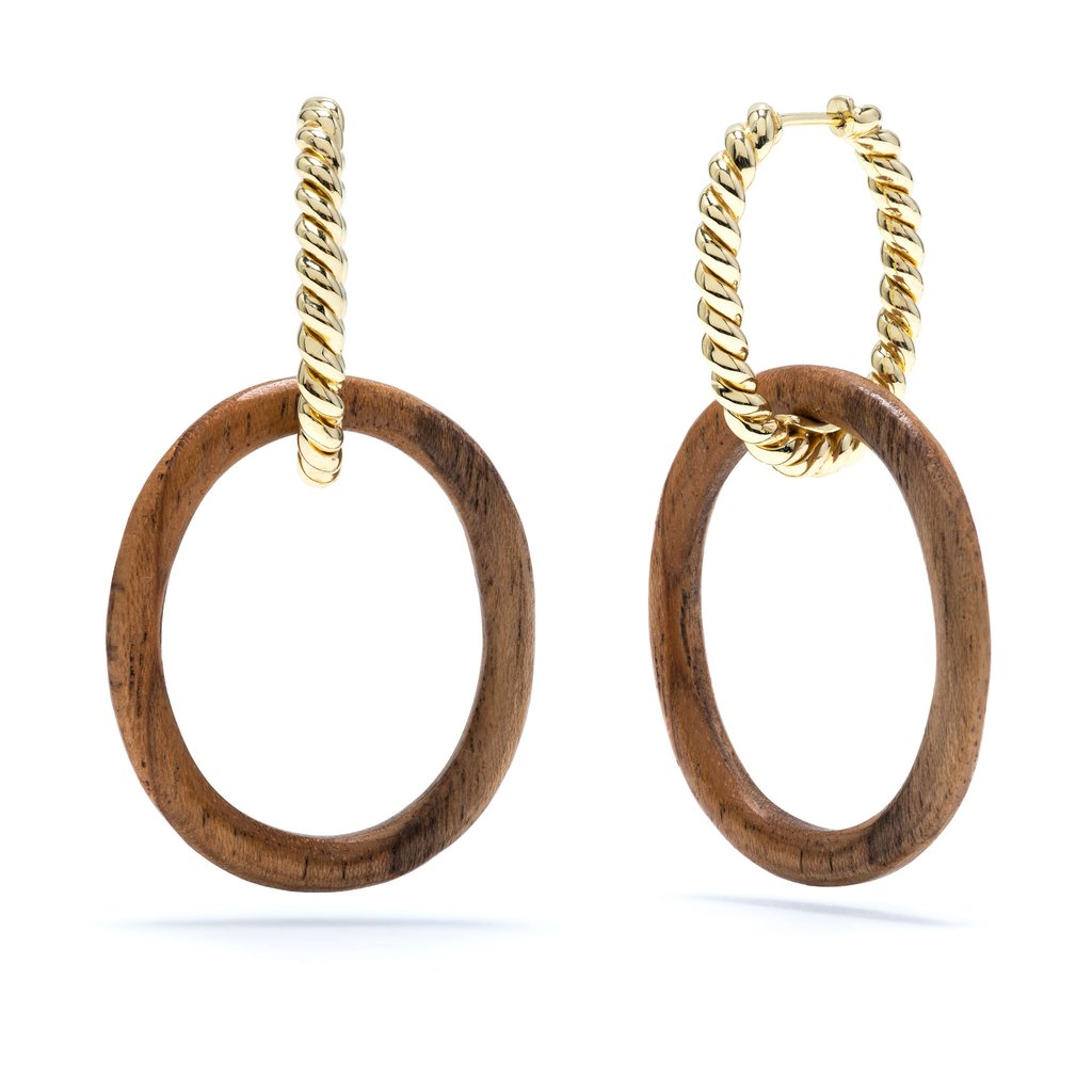 Earth Goddess Link Earring, Gold With Teak