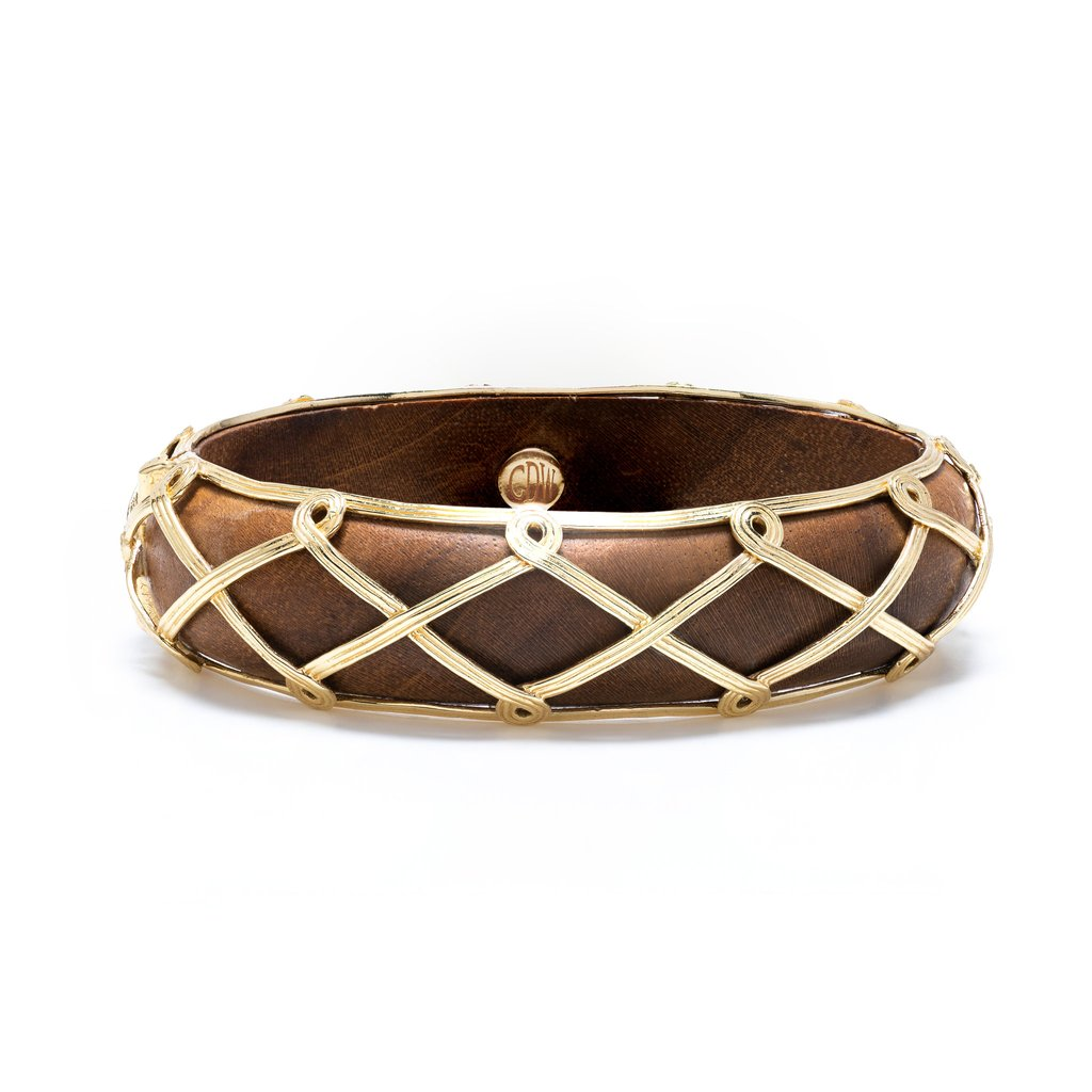 Teak & Gold Hinged Bangle Bracelet