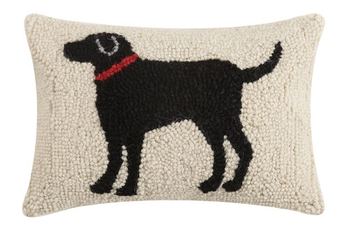 Black Dog Hook Pillow, 8x12