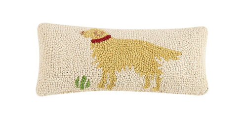 Golden Retriever Hooked Pillow 12x5