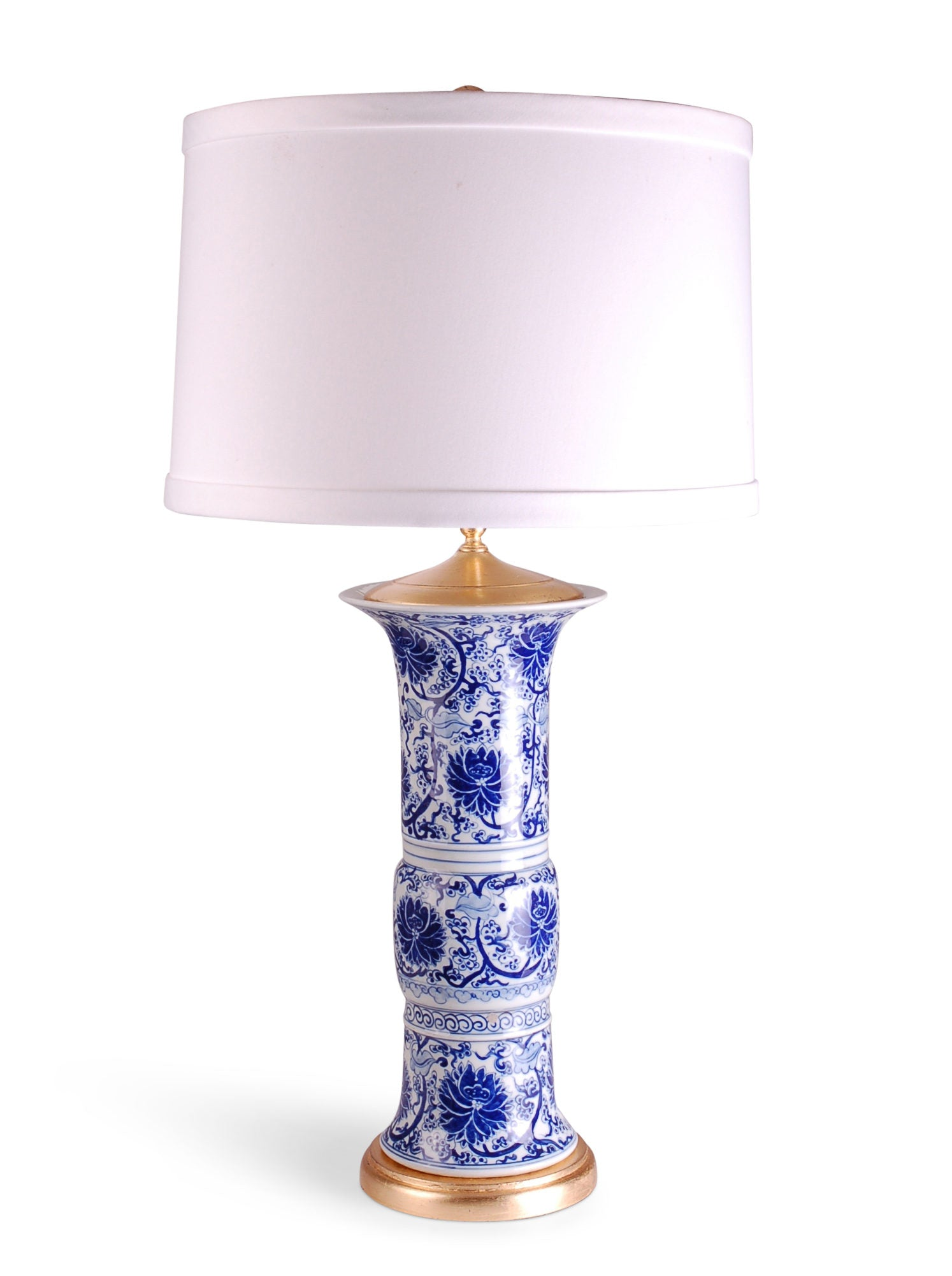 "31"" Tall Blue and White Beaker Lamp w/ Gold Leaf Base"