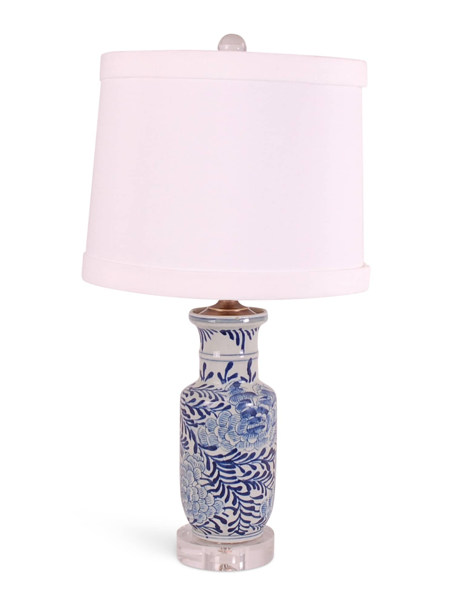 Blue & White Palm Floral Lamp