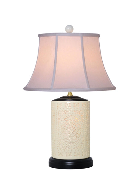 Bone China Lamp & Shade, Large