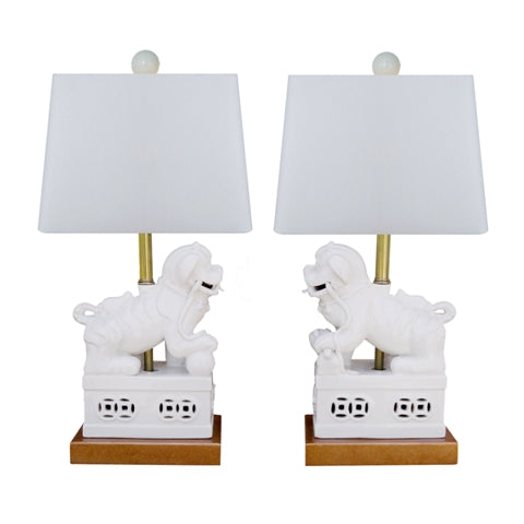 PAIR, White Lion Lamp w/ Shade