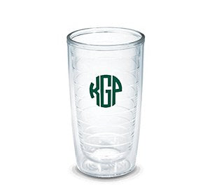Clear 16 ounce Tumblers, S/4 Monogrammed