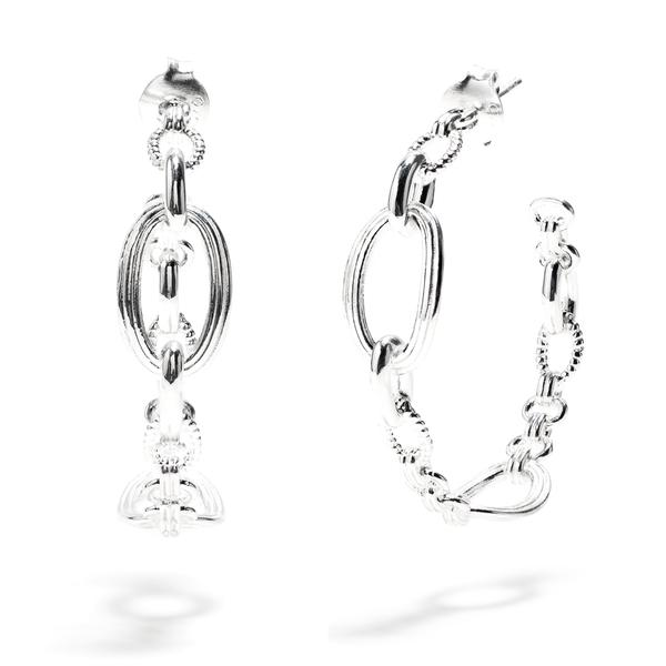 Monique Chain Hoop Earrings Silver