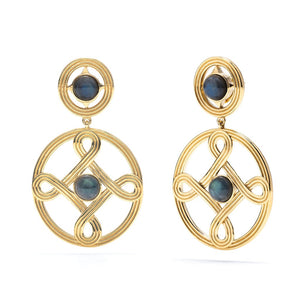 Monique Double Earrings in Gold w/ GRY LAB