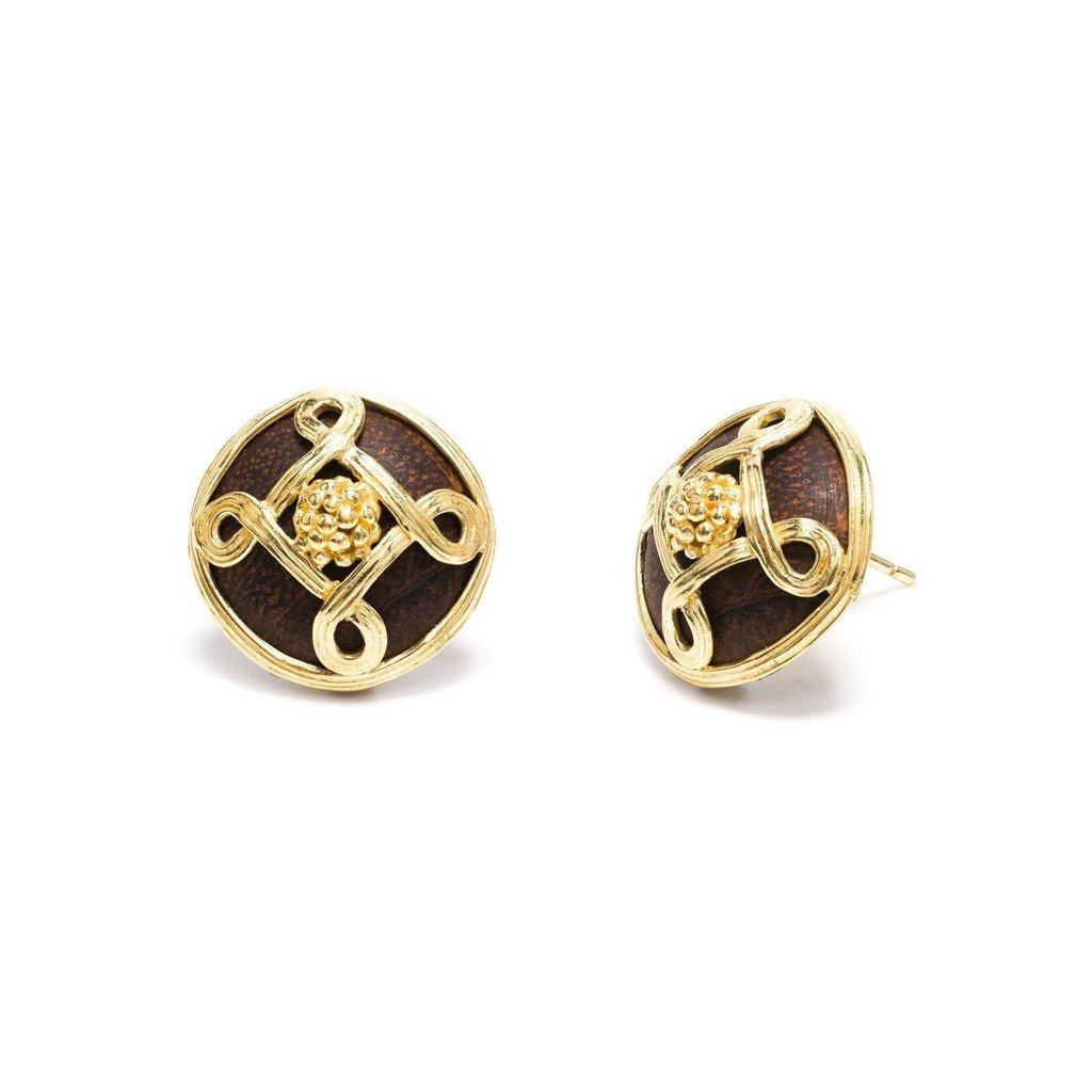Monique Stud Earrings, Teak