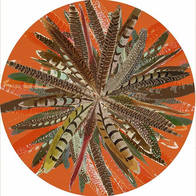 Pheasant Feather Round Placemat, Orange